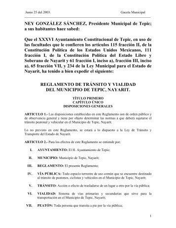 REGLAMENTO DE TRANSITO Y VIALIDAD DEL MUNICIPIO ... - Justia