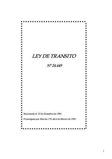 LEY DE TRANSITO