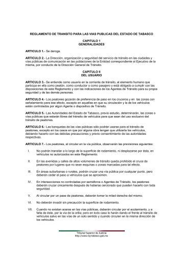 REGLAMENTO DE TRANSITO PARA LAS VIAS ... - Transparencia