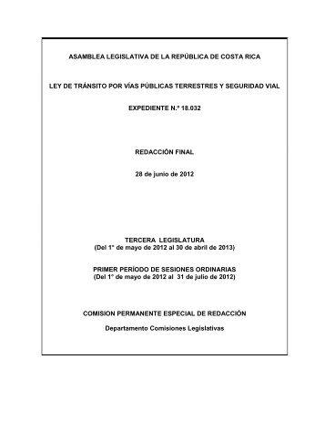 asamblea legislativa de la república de costa rica ley de tránsito por ...