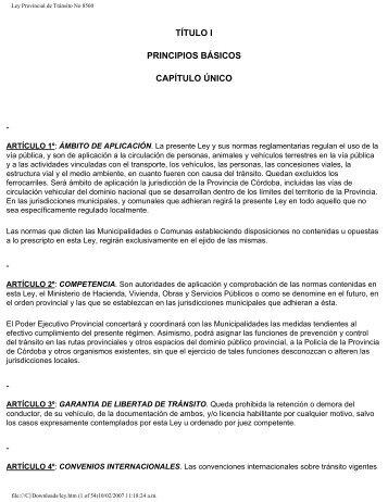 Ley Provincial de Tránsito No 8560 - Agencia Nacional de ...