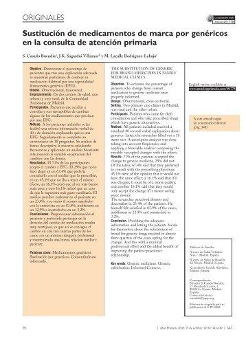 Sustitución de medicamentos de marca por genéricos en la ... - Ifarma
