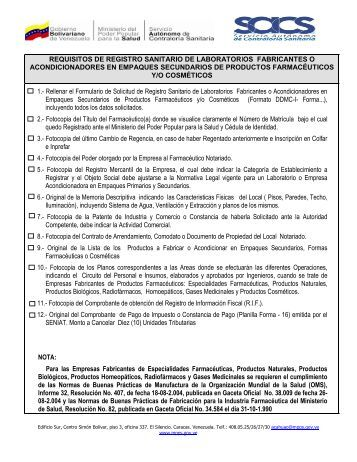 requisitos de registro sanitario de laboratorios fabricantes o ...