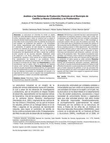 Análisis a los Sistemas de Producción Piscícola en el Municipio de ...