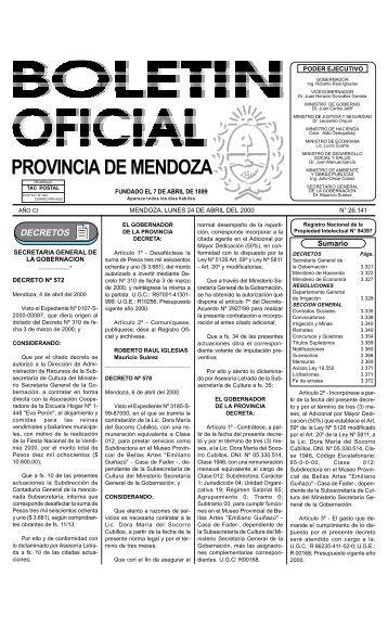 Boletin Oficial N 26141 del 24/04/2000 - Gobierno de Mendoza