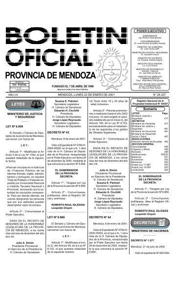 Boletin Oficial N 26327 del 22/01/2001 - Gobierno de Mendoza