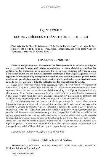 Ley de Vehículos y Tránsito de Puerto Rico - Martin Diego Pirota