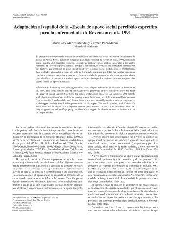 Adaptación al español de la «Escala de apoyo social percibido ...