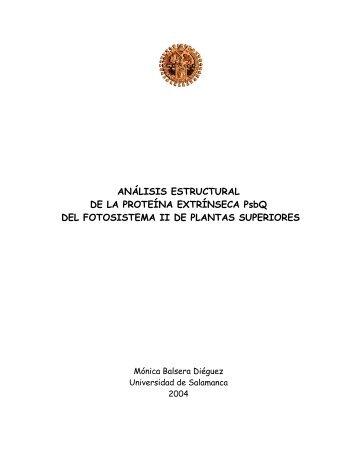ANÁLISIS ESTRUCTURAL DE LA PROTEÍNA EXTRÍNSECA PsbQ ...