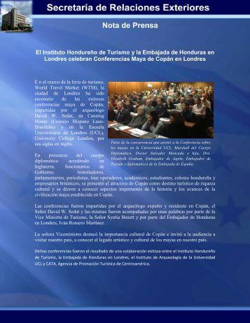 El Instituto Hondureño de Turismo y la Embajada de Honduras en ...