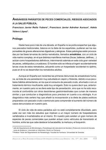 Anisákidos parásitos de peces comerciales. Riesgos - Instituto de ...
