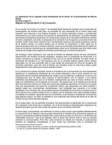 """En su obra """"El hombre y lo Divino"""" , María Zambrano expresa ... - Inicio"""