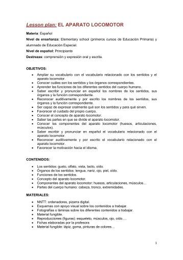 Lesson plan: EL APARATO LOCOMOTOR