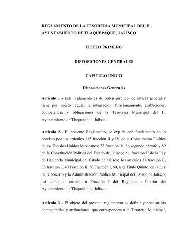 Reglamento de la Tesorería Municipal - Tlaquepaque