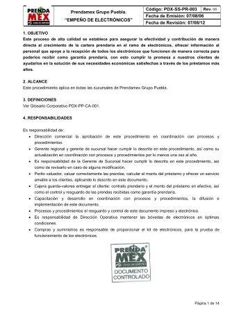 PROCEDIMIENTO DE MANTENIMIENTO - prendamexpuebla.com.mx