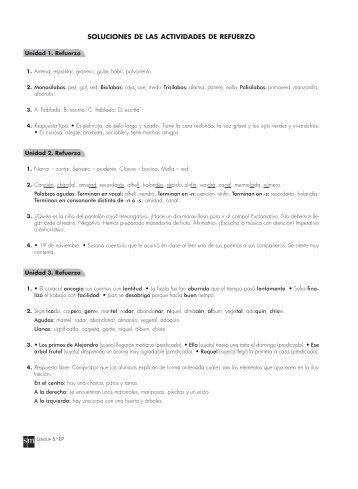 2. solucionario de las fichas de refuerzo de lengua castellana