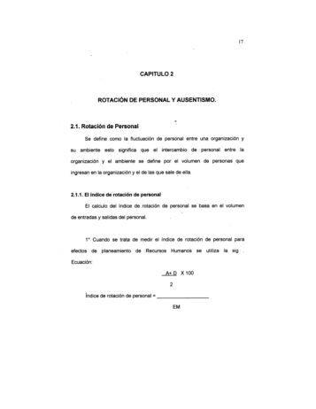 CAPITULO 2 ROTACIÓN DE PERSONAL Y AUSENTISMO.