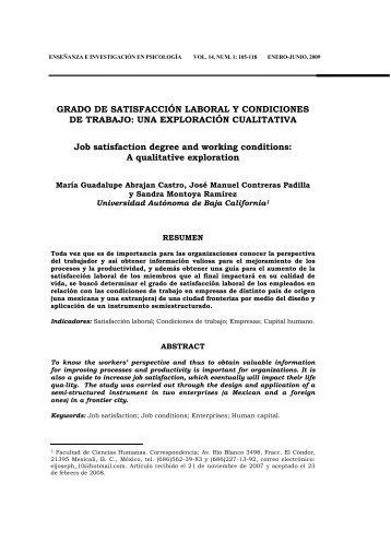 GRADO DE SATISFACCIÓN LABORAL Y CONDICIONES ... - cneip
