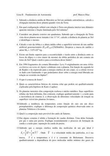 Lista de Exercícios II
