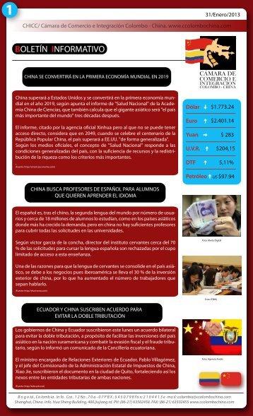Boletín Enero 2013.pdf - Cámara de comercio e integración ...
