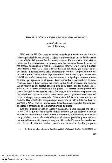Actas X. AIH. Simetría doble y triple en el Poema de Mío Cid ...
