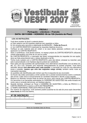 PROVA I Português – Literatura – Francês DATA: 26 ... - Pro Campus