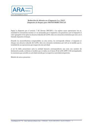 Nota de reducción de alícuota del impuesto al ... - ARA Contadores
