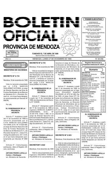 Boletin Oficial N 26058 del 27/12/1999 - Gobierno de Mendoza