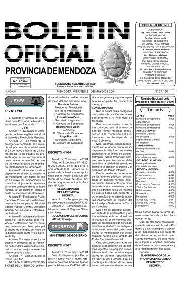 PROVINCIA DE MENDOZA - Gobierno de Mendoza