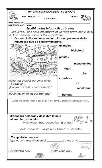 Escribir notas informativas breves 1 - Dirección de Educación Primaria