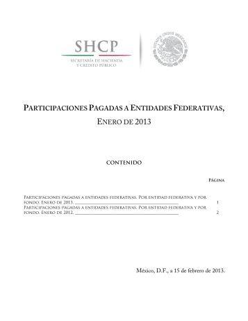 PARTICIPACIONES PAGADAS A ENTIDADES FEDERATIVAS ...