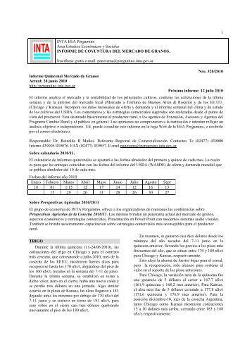 Informe Mercado Mundial de Granos 28/06/2010 - El Sitio Agrícola