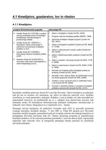 4.1 Kmetijstvo, gozdarstvo, lov in ribolov - Agencija RS za okolje