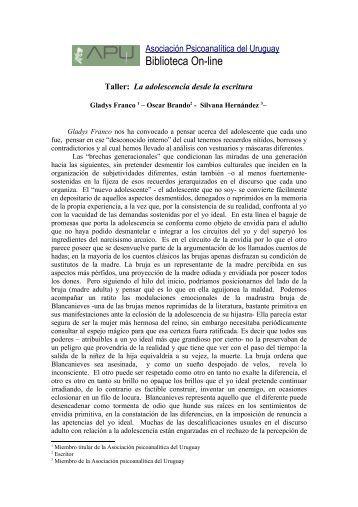 La adolescencia desde la escritura - Asociación Psicoanalítica del ...