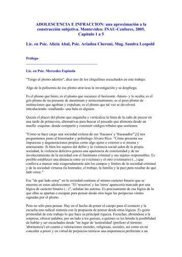 ADOLESCENCIA E INFRACCION: una aproximación a la ... - INAU