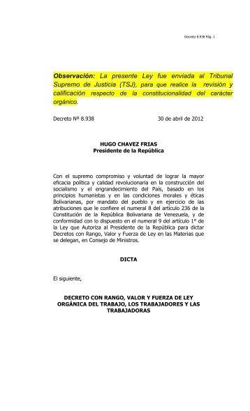 DECRETO LEY ORGANICA DEL TRABAJO (ENVIADA) - Asamblea ...