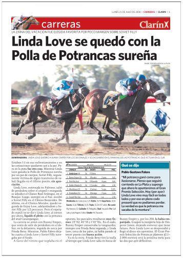 Linda Love se quedó con la Polla de Potrancas sureña - Clarín