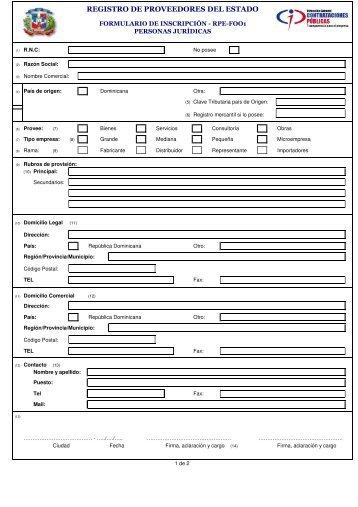 Formulario Inscripcion Proveedores - Ministerio de Salud Pública