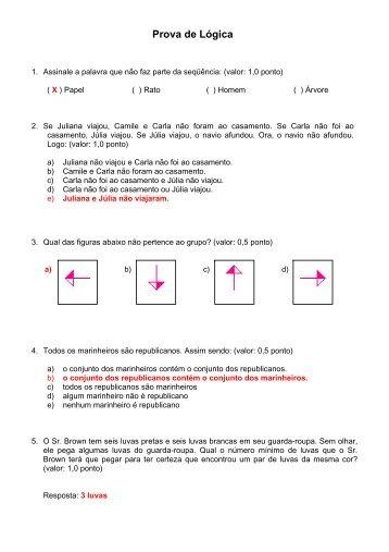 Prova de Lógica - Colégio Pedro II