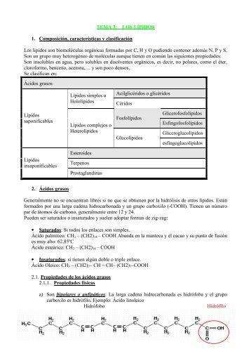 1 TEMA 3: LOS LÍPIDOS 1. Composición, características y ...
