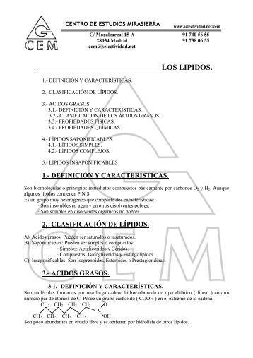 LOS LIPIDOS. - Selectividad