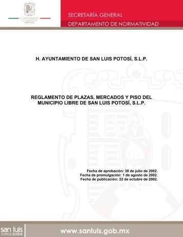 Reglamento de Plazas, Mercados y Piso del Municipio de San Luis ...