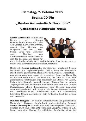 """""""Kostas Antoniadis & Ensemble"""" Griechische Rembetiko-Musik"""