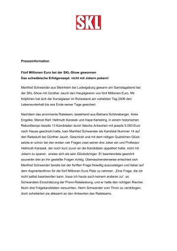 Presseinformation Fünf Millionen Euro bei der SKL-Show gewonnen ...