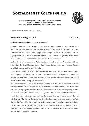 Pressemitteilung - Sozialdienst Gilching eV