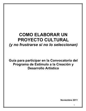 Manual de cómo elaborar un proyecto cultural PECDA