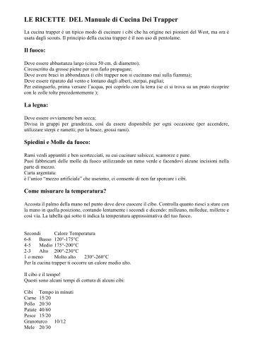 Manuale cucina trappeur gruppo scout teano 1 - Manuale di cucina professionale pdf ...