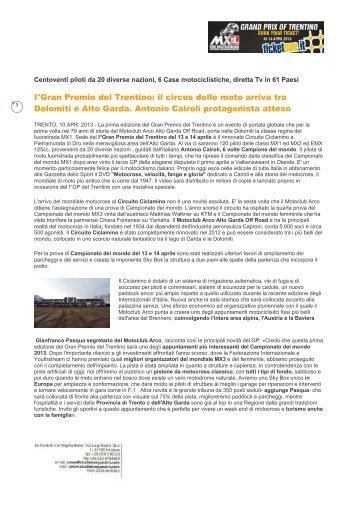 I°Gran Premio del Trentino: il circus delle moto ... - Studio Bergonzini