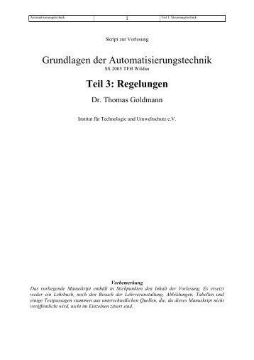Grundlagen der Automatisierungstechnik Teil 3: Regelungen