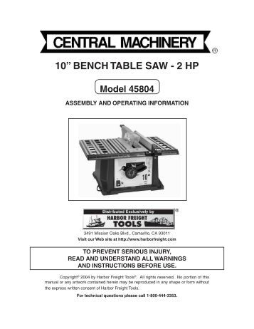 Grounding instructions sa for 10 table saw harbor freight